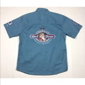 NWT Disney Grumpy's Gas & Grease Blue Work Shirt S